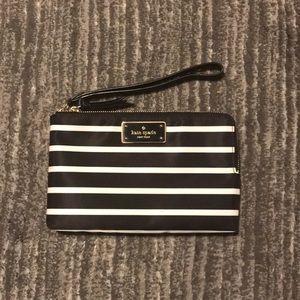 Brand New! Kate Spade Clutch- black&white stripes